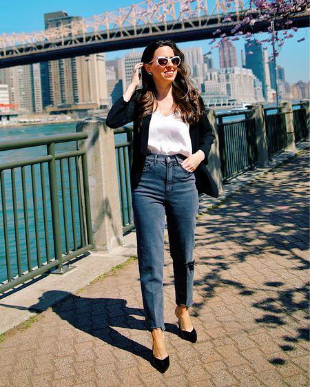 Black jeans, white cami, black blazer,   #LTKseasonal http://liketk.it/3eUiV #liketkit @liketoknow.it #LTKunder50 #LTKsalealert