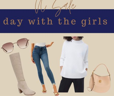 Day with the girls Errands N sale French connection white sweater Skinny jeans good American Tan suede boots Quay sunglasses NSale Nordstrom sale   #LTKunder100 #LTKsalealert #LTKSeasonal