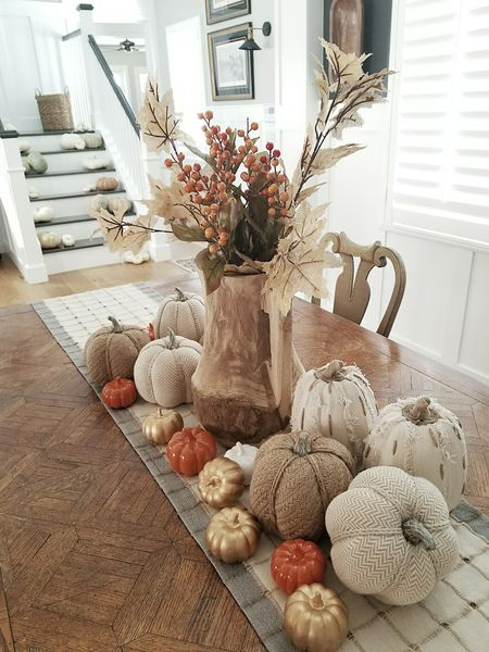 """Well did I mention I had a fall explosion in my house?!! Luckily my insurance covers it so it's all good 🤣🤣 I found some beautiful pumpkins at sprouts yesterday. I had already photographed my table scape but now I have to do it all again with my new pumpkins! #bloggerproblems Also Luciane of @homebunch did an amazing blog post titled """"Instagram Fall Decorating Ideas"""" featuring some incredible homes for fall!! I am honored to be a part of it check it out the fall decor is beautiful ♡♡ Have A Good Night everyone #falldecor to shop this look get the @liketoknow.it app http://liketk.it/2sTha #liketkit #ltkhome"""