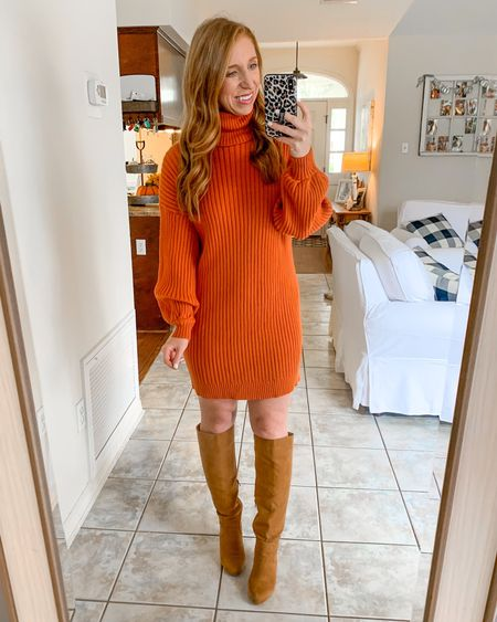 Sweater dress under $30!              Amazon fashion  Amazon finds  Fall outfits  Fall fashion  Boots   #LTKstyletip #LTKunder50 #LTKsalealert