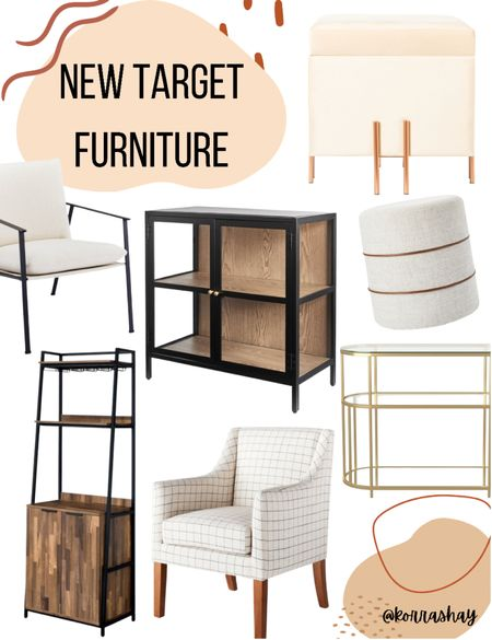 New Target furniture!   Modern, rustic, MCM, and more inspired furniture from Target.   My favs:  Plaid cream and black mid vet tutu modern chair Black, wood, and glass accent cabinet  Cream and leather ottoman Cream and gold storage ottoman Gold and glass fancy accent table with storage shelves  Modern sleek black and white accent chair   #LTKhome #LTKSeasonal #LTKunder100