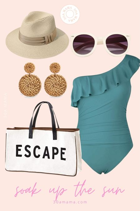 Ready for the beach and pool. One shoulder swimsuit , packabke fedora hat, rattan earrings, escape beach bag and chic round sunglasses. http://liketk.it/3g3dx #liketkit @liketoknow.it #LTKunder50 #LTKswim #LTKtravel