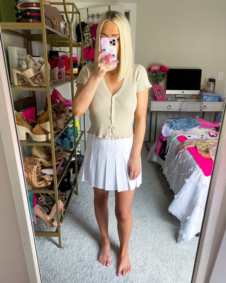 Short sleeve ruffle cardigan (XS) with the white pleated mini skort (XS)!!   http://liketk.it/3jCOu @liketoknow.it #liketkit