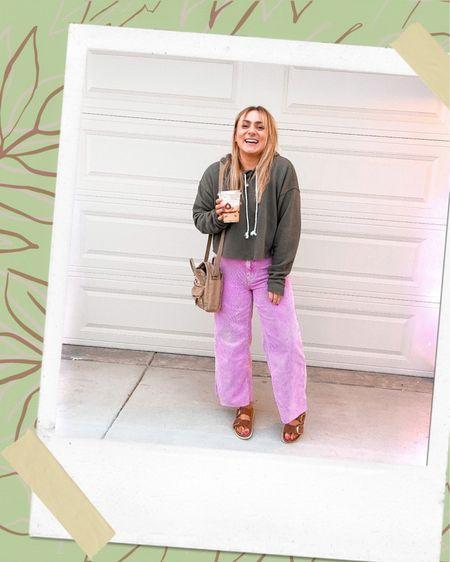 Fall wide leg flare outfit Fjallraven sling bag Crossbody Cropped sweatshirt Target urban    #LTKstyletip #LTKunder100 #LTKSeasonal