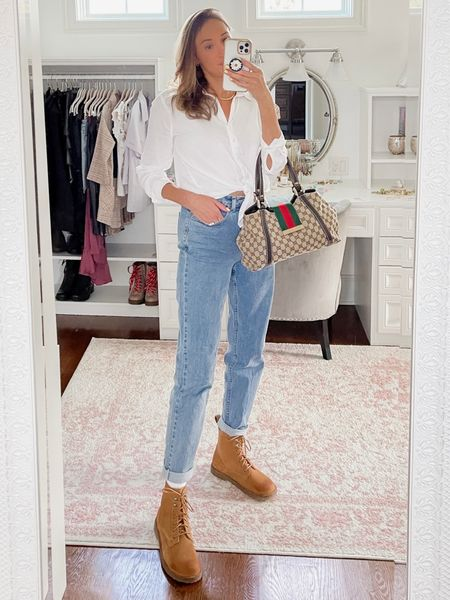 Classic women's outfit- white button up blouse, straight leg high waisted mom jeans, camel boots (Birkenstock), Gucci bag, fall outfit  #LTKstyletip #LTKshoecrush #LTKitbag