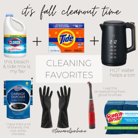 It's fall clean out time. These are the items I love to use when preparing my home for the holidays or even just general cleaning. Tide, bleach, gloves, cleaning, tea kettle, Walmart finds, Amazon finds, go clean co   #LTKhome #LTKHoliday #LTKSeasonal