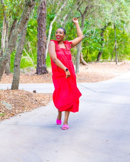 Love me a pink and red combo, a dress that's easy to wear and shoes that pop! @liketoknow.it #liketkit http://liketk.it/3ljoI