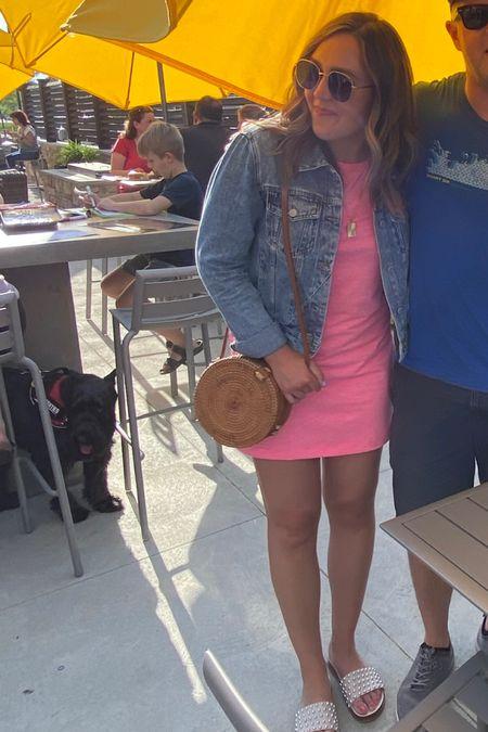 Summer outfit. Summer fashion. Pink dress. Swim cover up. Denim jacket. Slide sandals. Studded sandals. Gold necklace. Rattan bag. Purse. http://liketk.it/3fXi5 #liketkit @liketoknow.it #LTKshoecrush #LTKstyletip #LTKitbag
