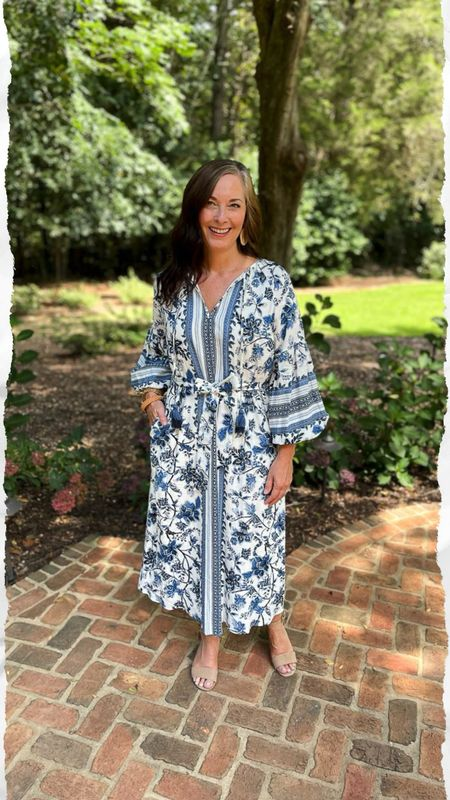 Fabulous blue and white floral boho dress! Self belt with pockets! Perfect weight for spring and fall! True to size in a small.   #LTKstyletip #LTKSeasonal #LTKsalealert