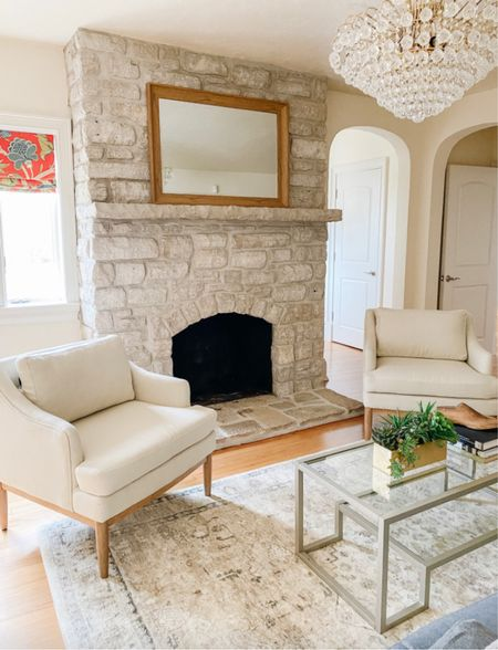 Love these Studio McGee accent chairs flanking the fireplace in this traditional living room.  Accent chairs, neutral chairs, upholstered chairs, Target furniture, living room ideas, living room decor, coffee tables  #LTKhome