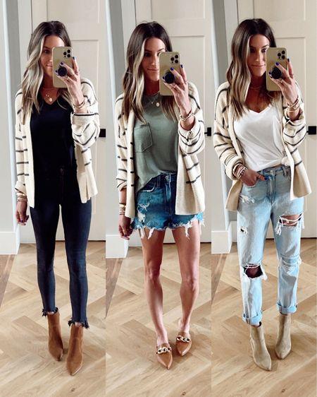 Size xs in this Old Navy striped cardigan! On sale!  Code JEN15 on KellParker booties and mules.    http://liketk.it/3jUtr @liketoknow.it #liketkit #LTKworkwear #LTKshoecrush #LTKstyletip   Jeans. Teacher outift. Casual.