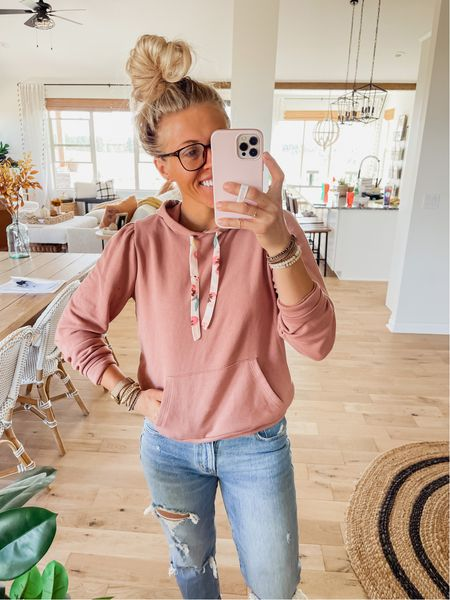 Love this cute pink hoodie with the ribbons! Wearing size small. It's from Kohl's.   #LTKSeasonal #LTKunder50 #LTKstyletip