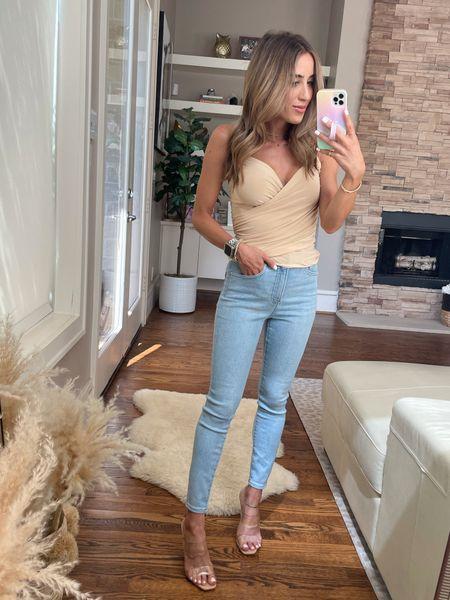 Cami size Xs, jeans size 00 short, sandals size 7  #LTKunder100 #LTKunder50 #LTKstyletip