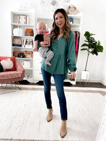 Does anyone else have their own stash of Halloween candy?! 🍬🍭 I may have dipped into mine a few times today !! || I'm sharing this top selling blouse (xs) because it's cute and so is my little dude ❤️❤️