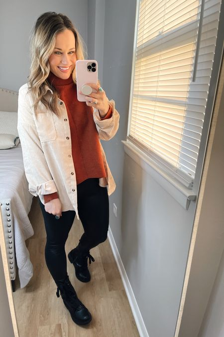 Amazon fashion finds: my entire outfit is from amazon! My turtleneck sweater, oversized shirt, faux leather leggings, gold hoops and combat boots! http://liketk.it/373RD #liketkit @liketoknow.it #LTKshoecrush #LTKstyletip #LTKunder50