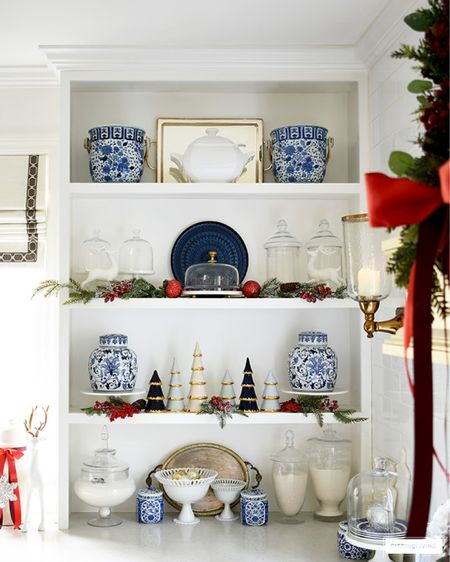 Kitchen shelf Christmas decor in blue and white and red! Style chinoiserie with gorgeous red accents for a timeless look.  #LTKstyletip #LTKhome #LTKHoliday