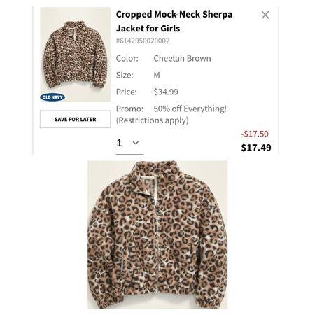 $17 girls leopard coat! Old Navy Sale!   #LTKsalealert #LTKFall #LTKkids