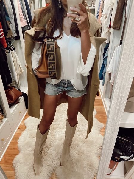 Shopshalicenoel peasant top shorts and killer boots $149 available what?!  #LTKshoecrush #LTKsalealert