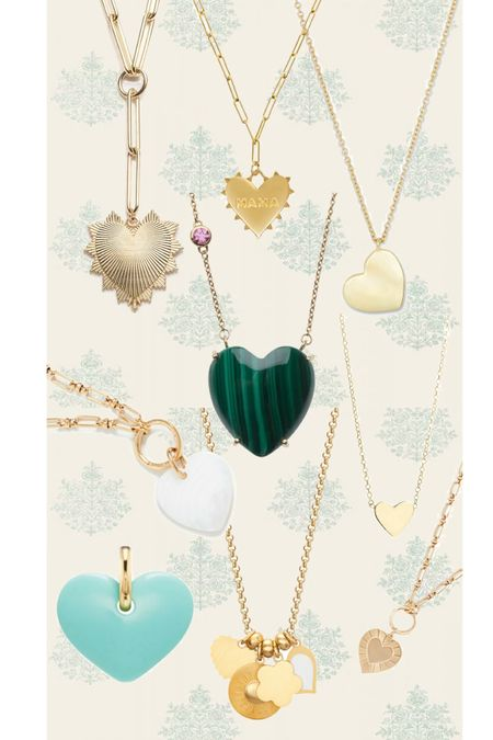 Heart necklaces - most linked, but top left is Foundrae, bottom left is Aurelia Demark, and bottom middle is Rondel.   #LTKwedding #LTKstyletip