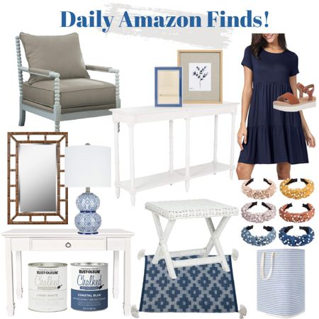 Shop my daily Amazon finds!    http://liketk.it/3jS03 #liketkit @liketoknow.it @liketoknow.it.home #LTKhome #LTKsalealert #LTKunder100 spindle chair, white console table, blue frames, blue dress, summer sandals, bamboo mirror, white desk, chalk paint, x-bench, turban headbands, basket, hamper, coastal decor