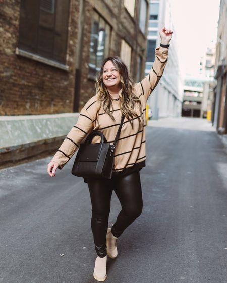 Faux leather leggings outfit // Striped fleece top // Leggings tunic // Striped sweater // Chunky boots // Tan booties // Vegan leather leggings // High waist leggings    http://liketk.it/39c38 @liketoknow.it #liketkit #LTKsalealert #LTKstyletip #LTKSeasonal