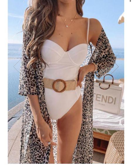 White belted swimsuit, one piece bathing suit, white swim for brides! http://liketk.it/39Mzl #liketkit @liketoknow.it #LTKswim #LTKstyletip #LTKunder100