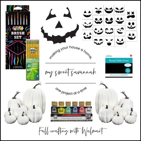 DIY fun Fall Halloween pumpkins with Jack O Lantern faces! All  crafting products found at #WalmartHome #ad  #LTKstyletip #LTKSeasonal #LTKhome