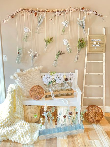 """http://liketk.it/35Iww #liketkit @liketoknow.it   """"Message in a Bottle"""" 🤍 created by Twinkle Lights & Cornbread...  ... neutral winter whites, a farmhouse bench, a distressed white ladder, soft knit throws, whimsical hanging glass bottles, galvanized metal and wooden trays, and slightly frosty florals and pinecones make for the perfect scene to transition your winter decor with the beautiful promise of a blooming spring not far behind 🤍"""