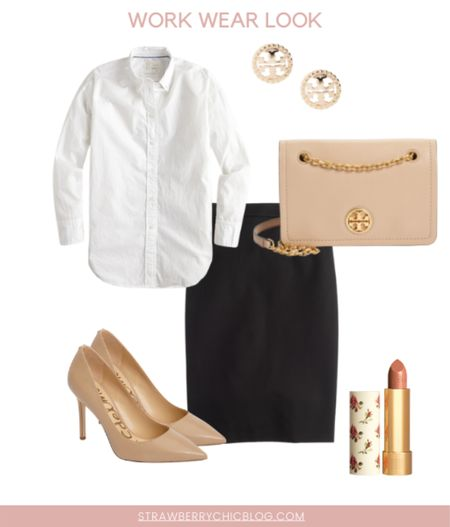 For a classic work wear look that can transition from summer to fall pair a black pencil skirt with a white button down and neutral heels.   #LTKshoecrush #LTKworkwear #LTKunder100
