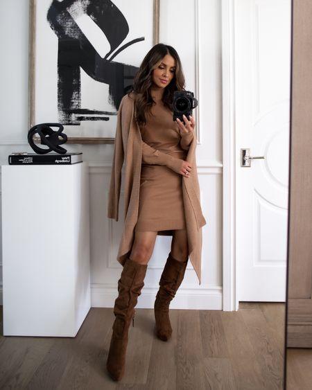Walmart fall fashion  Walmart Free Assembly camel sweater dress wearing an XS Sofia Jeans camel cardigan Scoop slouchy brown suede boots    #LTKworkwear #LTKunder100 #LTKunder50