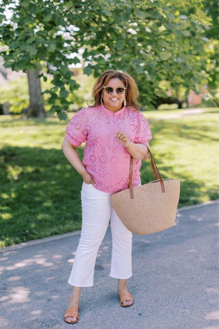 This is going to be my summer uniform, an easy breezy eyelet top and white jeans!  These white jeans are the BEST. And, you can get 25.00 off of them in the @liketoknow.it app for #ltkday. Everything I'm wearing fits TTS. http://liketk.it/3hw66 #liketkit You can instantly shop my looks by following me on the LIKEtoKNOW.it shopping app