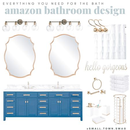Amazon Gold Accented Bathroom finds ...all affordable and prime — coupons available on some items too!! . . . .  . Bathroom // farmhouse // modern farmhouse // towels // towel // target home // magnolia home // hearth and hand // target bath // target bathroom // opal house // project 62 // threshold // hand towel // washcloth // trash can // waste basket // bath sheet // bath mat // bath rug // rug // rugs // bath mats // mirror // shower curtain // target mirror // hexagon mirror // Joanna Gaines // rustic bathroom // rustic farmhouse // modern // Scandinavian // storage baskets // wore basket // metal baskets // bathroom decor // bathroom accessories // soap dish // soap bottle // lotion bottle // toothbrush holder // soap dispenser // white towels // white linens // bath linens // closet storage // linen closet // target sale // target clearance // bathroom refresh // spring refresh // organization // organize // tub // shower // bathtub // vanity // Amazon bath // bath finds // Amazon bathroom // bronze bathroom // farmhouse bath // farmhouse bathroom // Modern // clean and modern // modern bath // modern bathroom // Gold bathroom // gold accent bath // vanity // Amazon vanity // shelving // Shelves // bath accessories // towels // Soap dispenser // lights // lighting // vanity lighting   #LTKbeauty #LTKDay #LTKhome  #LTKDay #LTKbeauty #LTKhome