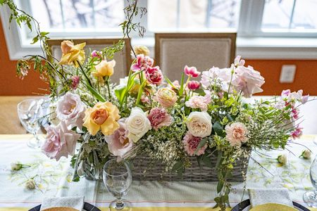 create a floral centerpiece for your home! here is a rectangular arrangement we made.  flower container, flower arrangement, wicker basket, floral  #LTKhome #LTKunder50 #LTKunder100