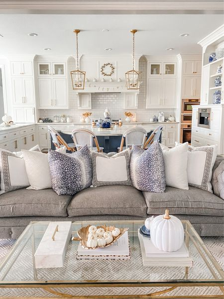 Blue and white fall decor. Living room and kitchen fall decorations. Fall decorating    #LTKstyletip #LTKSeasonal #LTKhome