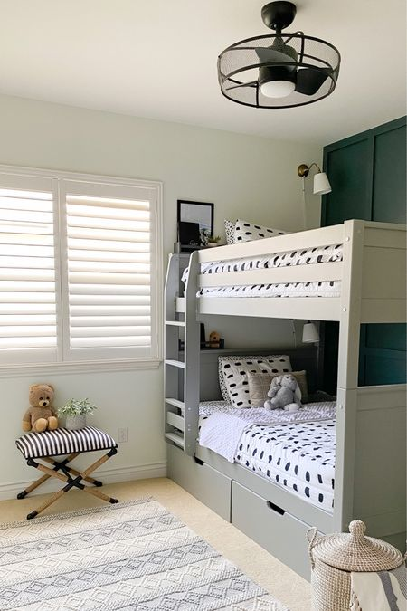 This ceiling fan and the bedding are super popular items! Use code Hillside for 20% off at  Beddys! The fan is linked below  Follow me on IG: .@myhillsidehaven http://liketk.it/2Tqxq #liketkit @liketoknow.it   Kids bedroom  Caged ceiling fan  Bunk beds Boys room  Beddy's
