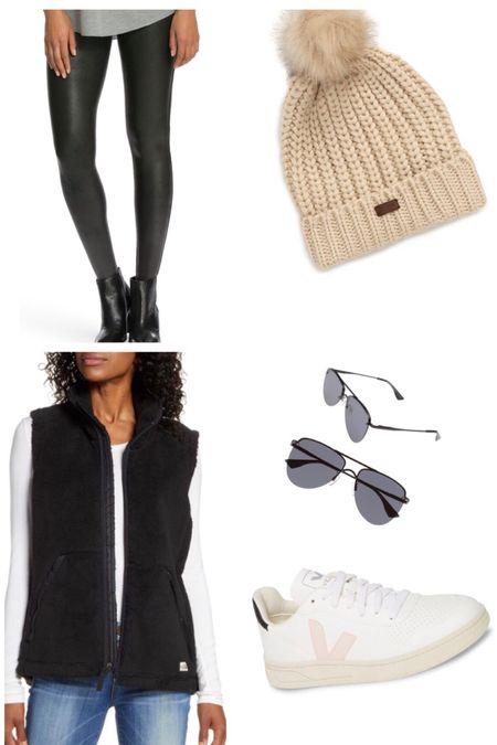 http://liketk.it/2Gvv8 #liketkit @liketoknow.it  Winter outfits, white sneaker , beanies , moto leggings , vest   #LTKunder50 #LTKsalealert #LTKtravel