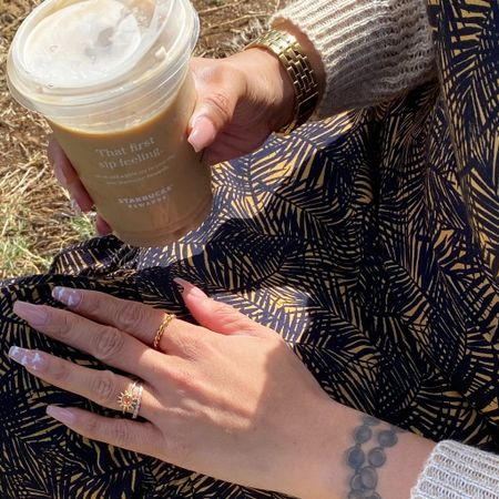 Wearing dress from Gentle Fawn. Rings are from the Modern Gents, Etsy, and Hey Harper Shop.   tropical dress, vacation outfits, chunky rings, braided rings, twisted rings, rings, ring stack, nails, acrylic nails, cardigan, sweater weather  #LTKstyletip #LTKtravel #LTKSeasonal