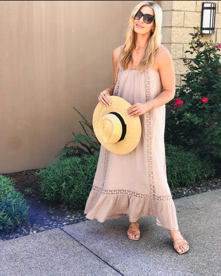 Dress 50% off and can be worn without a bra or over a swimsuit. I love this hat but there are some really pretty colors on sale for the NSale ! Nordstrom sale. I wear a Med. sandals are tts   #LTKshoecrush #LTKtravel #LTKsalealert