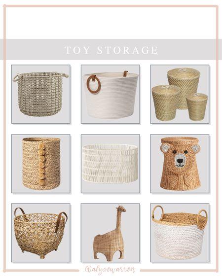 Toy storage that's adorable!  Nursery, playroom, kids bedroom, animal storage basket, lidded basket, woven basket, Target finds, Pottery Barn Kids  #LTKkids #LTKhome #LTKbaby