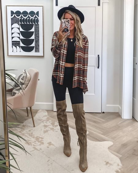 Links from my Reel…sz small in leggings Sz small in Zella top, crop tank , graphic tee (wish I did a med there)  Plaid (nor as oversized as you'd think a medium worked fine lightweight  Blazer Sz xs Boots/ shoes tts  Fall outfit ideas Leggings  4 ways    #LTKunder100 #LTKstyletip #LTKshoecrush