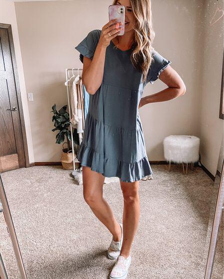 $14 gray babydoll short sleeve dress / $15 tie dye sneakers Large dress 11 sneakers