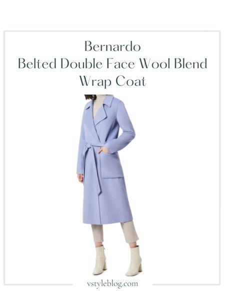 Fall outfits, Work wear, Teacher outfits, Blue belted trench coat  Bernardo Double Face Wool Blend Wrap Coat @ Nordstrom ($265)  #LTKworkwear #LTKSeasonal #LTKfit