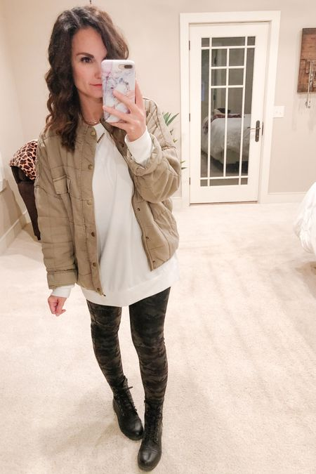 It was a parents night out last night celebrating a friend's birthday! I'm tellin' ya though, late nights and early mornings are hard for this girl to recover from now!  Here's  another way to style an oversized quilted jacket! Pair it with faux leather leggings, a white tunic and combat boots for an on trend fall look!   http://liketk.it/2Z0xg #liketkit @liketoknow.it