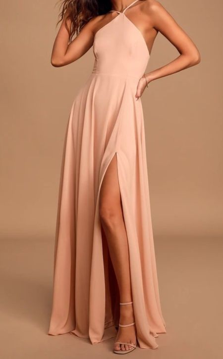 Absolutely Breathtaking Blush Pink Maxi Dress   Lulus Exclusive! The Lulus Absolutely Breathtaking Blush Pink Maxi Dress has left us speechless! Lightweight woven fabric falls from a modified halter neckline, into a princess-seamed bodice supported by slender adjustable straps. A fitted waist gives way to a full maxi skirt with a sexy side slit perfect for showing off your cute heels! Hidden back zipper/clasp.   Lulus, lulus finds, wedding guest, fall wedding guest, fall outfits, autumn, autumn outfits, fall, outfi ideas, fashion finds, fall fashion,
