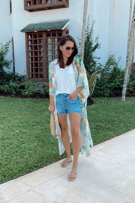 Vacation style - tropical amazon kimono, white tank, aerie jean shorts and amazon flip flops. All true to size, shorts run a tad big.   #LTKunder50 #LTKtravel #LTKstyletip