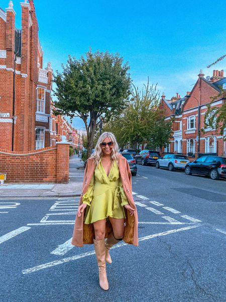 Green silk dress - green cross body dress - plunge dress - satin dress - floaty dress - knee high boots - autumn coat - autumn jacket - trenchcoat - trench - autumn trench - wool coat - fall trench - fall coat - fall style - autumn style - over the knee boots - knee high boots - thigh high boots - autumn boots - fall boots - boohoo - leather boots - PU boots - autumn outfit inspo - satin dress   #LTKunder50 #LTKshoecrush #LTKSeasonal