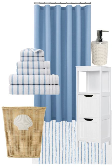 Bathroom Accessories! Rounded up the cutest towels and bathroom items from @walmart! It's Self care of awareness month and I'm sharing how I relax! #ad #walmarthome   Shower curtain, bath towels, bath rug, soap dispenser, bathroom accessories, bathroom decor, Boyd Bathroom, Nursery bathroom