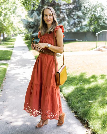 Rust eyelet dress from target http://liketk.it/3jj97 #liketkit @liketoknow.it #LTKunder100 #LTKunder50 #LTKshoecrush