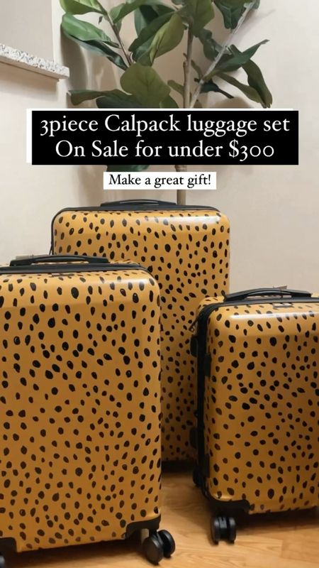 3 piece @calpak luggage set for under $270 Love this fun print comes in a large 30 inch medium 26 inch and small 20 inch features top and side carry handles it's a hard side construction has interior pockets and interior zipper divider with a built in combination lock and it's a expandable! #LTKVideo  #LTKfamily #LTKsalealert #LTKtravel
