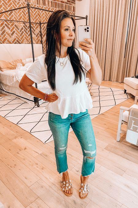 http://liketk.it/3eFGf #liketkit @liketoknow.it  Madewell Demi boot cut jeans on sale - lots of colors   Anthro peplum t shirt on sale   Jeweled slide sandals under $30  #LTKsalealert #LTKshoecrush